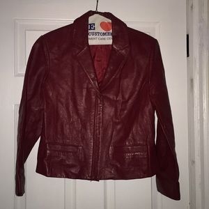 Petite Sophisticate red leather blazer